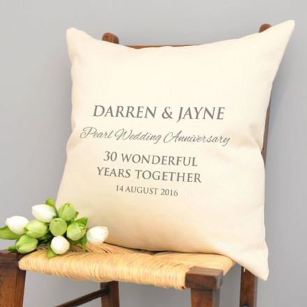 Personalised Pearl Wedding Anniversary Cushion
